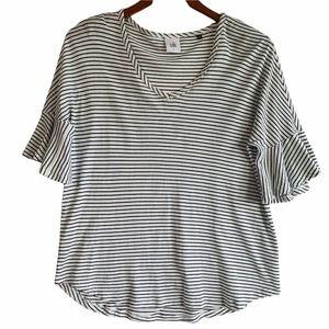 CAbi Skipper Tee White Black Striped Knit Top